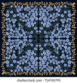 Folk flower square composition. Country style millefleurs. Floral meadow enchanting background for scarf print, textile, covers, surface, scrapbooking, decoupage. Bandana design.