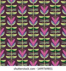 Folk Flowers repeat pattern background