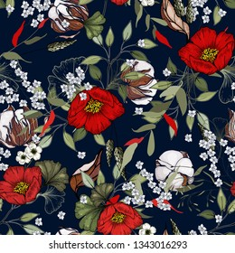 Folk flowers. Seamless floral pattern. Modern cotton botanical background. Hand drawn vector illustration