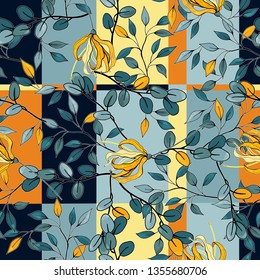 Folk flowers. Seamless floral pattern. Modern botanical background. Hand drawn vector illustration