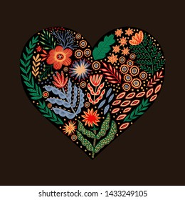 Folk heart made of flowers
