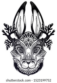Folk magic jackalope beast. Ideal vintage folklore creature, tattoo art, boho design. Perfect for print, posters, t-shirts,textiles. Vector illustration.
