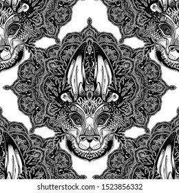 Folk magic jackalope beast with sacred geometry stars and moon ornament seamless pattern. Ideal vintage folklore creature, forest backdrop highly detailed texture. Animal traditional wallpaper.
