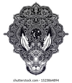 Folk magic jackalope beast with sacred geometry stars and moon ornament. Ideal vintage folklore creature, tattoo art, boho design. Perfect for print, posters, t-shirts,textiles. Vector illustration.