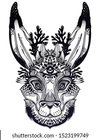 Folk magic jackalope beast with third eye. Ideal vintage folklore creature, tattoo art, boho design. Perfect for print, posters, t-shirts,textiles. Vector illustration.