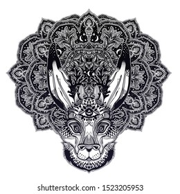 Folk magic jackalope beast with third eyewith sacred geometry stars and moon ornament. Ideal creature tattoo art, boho design. Perfect for print, posters, t-shirts,textiles. Vector illustration.