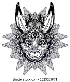 Folk magic jackalope beast with third eye with winged linear rounded frame ornament. Ideal vintage folklore tattoo art, boho design. Perfect for print, posters, t-shirts,textiles. Vector illustration.