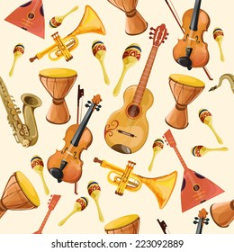 Folk music ensemble instruments seamless pattern with horn drum guitar and fiddle seamless pattern color vector illustration