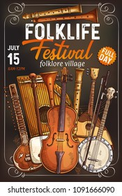 Folk music festival invitation poster with ethnic musical instrument. Italian viola, indian sitar and rebec, japanese shamisen, german zither and american banjo, russian balalaika and flute banner