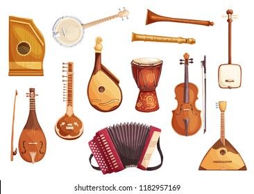 Folk music instruments watercolor icons of string, wind and percussion. Ethnic sitar, balalaika and djembe drum, banjo, viola and flute, zither, accordion, shamisen and bandura symbols