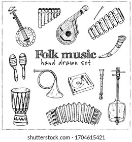Folk music isolated hand drawn doodles Vector set