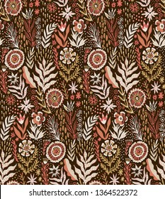 Folk pattern, seamless textile design with bright colorful flowers. Folk art vector ornament.