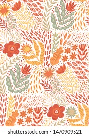 Folk pattern, seamless textile design with bright colorful flowers. Folk art vector ornament