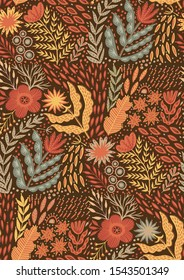 Folk pattern, seamless textile design with hand drawn doodle colorful flowers and leaf. Traditional native art vector ornament.