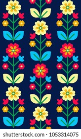 Folk seamless pattern, Ukrainian and polish folk art design, retro floral background