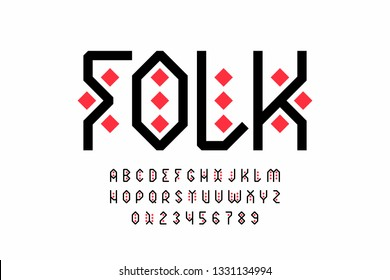 Folk style font design, tribal alphabet, letters and numbers vector illustration