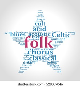 Folk. Word cloud, five-pointed star, gradient grey background. Music concept.