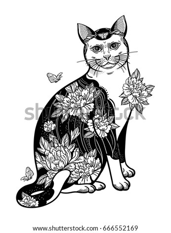Folklore Cat Flowers Butterfly Tattoo Vector De Stock Libre De