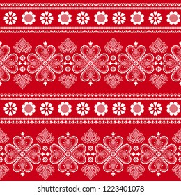 Folklore floral Nordic Scandinavian pattern vector seamless. Ethnic border ornament with snowflakes, hearts and flowers. Sweater design for holiday fabric, gift wrapping paper, season background.