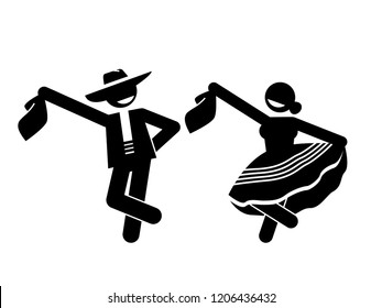 Folkloric dance. Couple dancing. Traditional Peruvian Marinera dancers in typical dresses.  Flat vector stick figure character isolated on white background.
