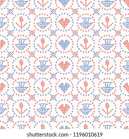 Folkloric Embroidery Sampler Stitches Seamless Vector Pattern. Hand Drawn Cross Stitch Illustration for Summer Fashion Prints, Cute Gift Wrap, Trendy Craft Packaging or Retro Red Blue Kitchenware