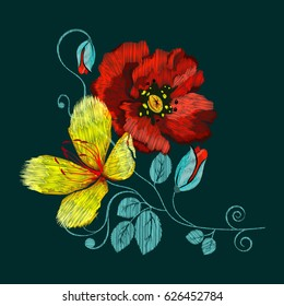 Folkloric ethnic embroidery of flowers. A line of neck, bags, textiles for your design. Vector illustration.