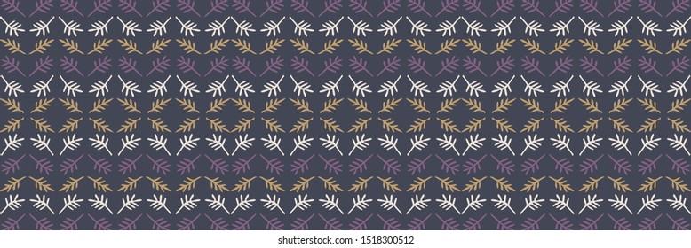 Folkloric leaf ethnic stripe border background. Seamless pattern with horizontal decorative folk leaves. Hand drawn moody winter purple yellow edging. Boho decorative textile ribbon trim background