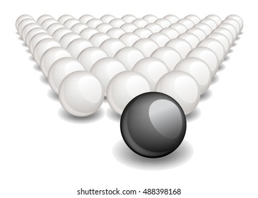 Follow the leader, Unique black ball ahead of the white ones. Vector image, no size limit.