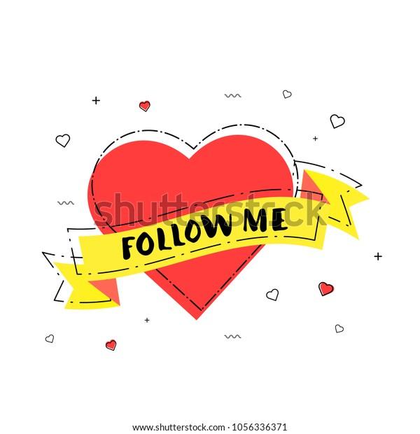 Follow Me Badge Heart Ribbon Vector Stock Vector (Royalty
