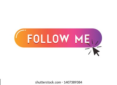 Follow me button, color gradient isolated