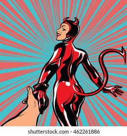 follow me, girl devil demon temptation, pop art retro comic book vector illustration