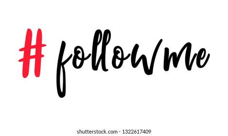 follow me hashtag symbol. Instagram hashtag. Follow us, follow me, like me hashtags. Instagram red hashtags for web and mobile app design.