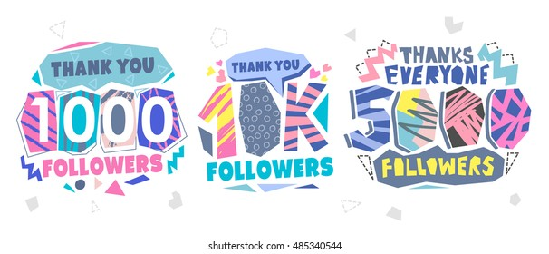 Follow Memphis Banner. Trendy geometric thanks retro Memphis card for social media networks. Pastels color Thank you followers label. 1000 followers. 40K followers. 5000 followers.