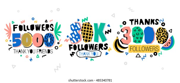 Follow Memphis Banner. Trendy geometric thanks retro Memphis card for social media networks. Pastels color Thank you followers label. 5000 followers. 30K followers. 3000 followers.