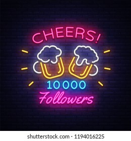 Follow neon sign vector. Cheers Party celebration card for social media Design template neon sign, light banner, neon signboard, nightly bright advertising, light inscription. Vector