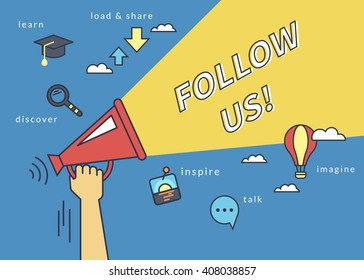 Follow us banner for social networks. Flat line contour illustration of human hand holds red megaphone with yellow speech bubble. Template design on blue background