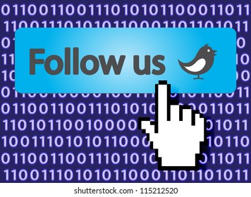Follow Us Button with Hand Cursor and bird. Vector Illustration.