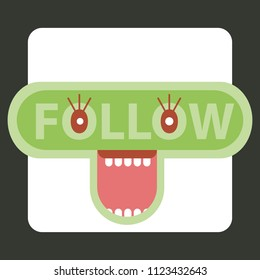 Follow us icon with open mouth