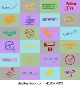 Follow Us Icons Set-Isolated On Mosaic Background-Vector Illustration,Graphic Design