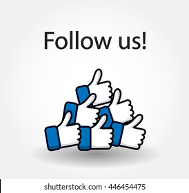 Follow us isolated counter notification  Vector Logo, JPG, JPEG, EPS. Icon Button.Flat Social Media Sign