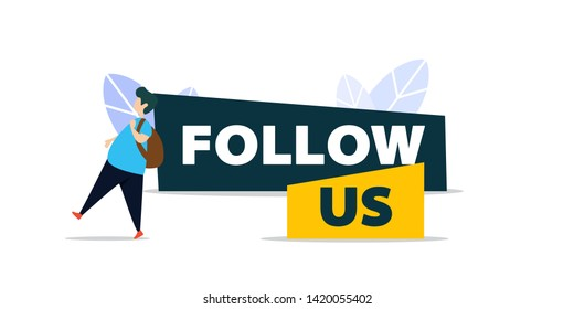 follow us and like us in flat style design with a man walking at follow us sign