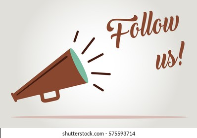 Follow us megaphone for social media