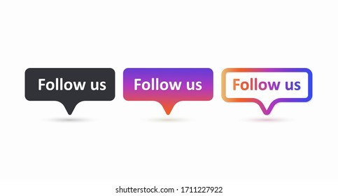 Follow us set of color label. Follow us buttons isolated on a white background. Social media network concept. User interface element. Web design. Vector illustration