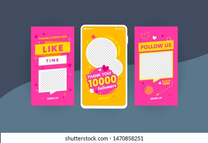 Follow us social media stories templates set. Like time, 10k followers congratulation social network promotional poster layouts pack. SMM, Internet advertisement web banners collection