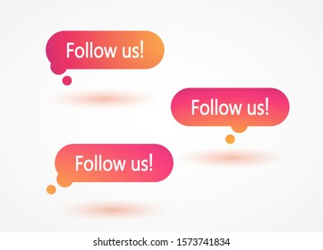 Follow us templates colorful gradient labels. Follow us mockups sticker social media Instagram concept. Vector illustration. EPS 10