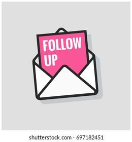 Follow Up Written Inside an Envelope