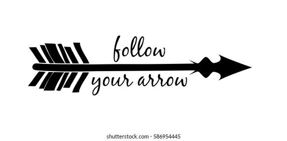 Follow your arrow silhouette isolated over white background