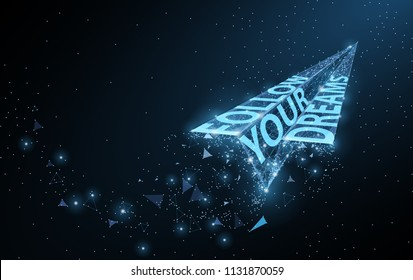 Follow Your Dreams Low Poly Paper Airplane With Motivational Slogan On Dark Blue Dots