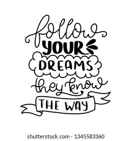 Follow your dreams they know the way. Modern handlettering. Hand drawn typography phrase design.