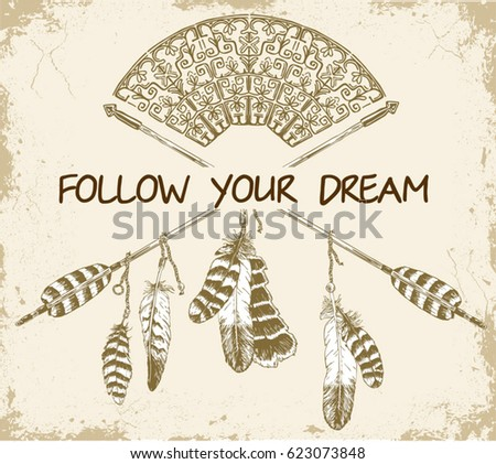 Follow Your Dreams Words Hand Drawn Stock Vector Royalty Free Inspiration Dream Catcher Words